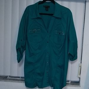 Roll Up Sleeve Teal Button Down Top